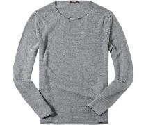 Herren Pullover Woll-Kaschmir-Mix schwarz-weiß gestreift