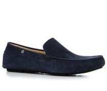 Herren Schuhe Slipper Veloursleder navy blau,beige