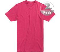 T-Shirts Regular Fit Baumwolle fuchsia meliert
