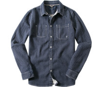 Herren Hemd Regular Fit Popeline navy-wollweiß gemustert blau