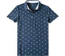 Polo-Shirt Polo Modern Fit Baumwoll-Jersey navy gemustert