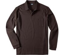 Polo-Shirt Polo Pima Baumwoll-Jersey dunkelbraun