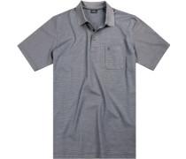 Poloshirt, Baumwoll-Jersey, rauchblau gestreift
