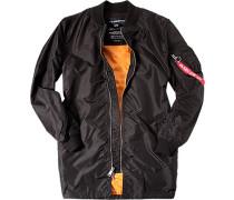 Herren Mantel Anorak Nylon schwarz schwarz,orange