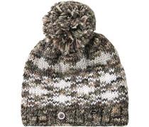Mütze Schurwolle khaki-braun gemustert