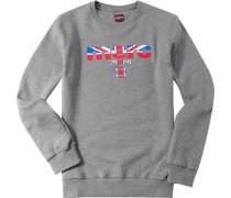 Herren Sweatshirt Baumwoll-Mix grau meliert