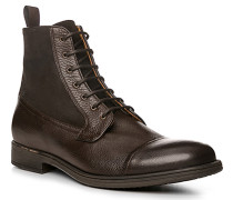 Schuhe Schnürstiefeletten Leder kaffeebraun