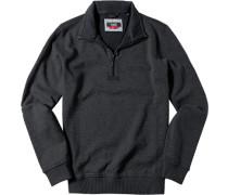 Pullover Troyer Baumwolle anthrazit meliert