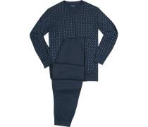 Schlafanzug Pyjama, Baumwolle, dunkelblau gemustert