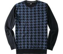 Pullover Woll-Mix marine gemustert