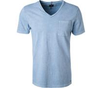 T-Shirt, Baumwolle, hellblau meliert