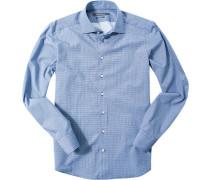 Hemd Shaped Fit Popeline dunkelblau-hellblau gemustert