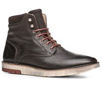 Schuhe Stiefelette Kalbnappa warmgefüttert dunkelbraun