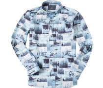 Hemd Modern Fit Popeline -grau gemustert