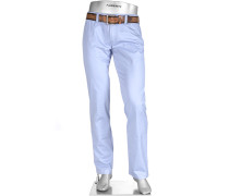 Herren Hose Chino Regular Slim Fit Baumwoll-Stretch aqua blau