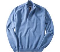 Pullover Troyer Premium Baumwolle azurblau meliert