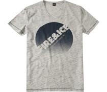 T-Shirt Baumwolle -grau meliert