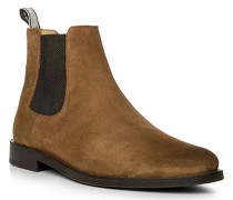 Schuhe Chelsea Boots Veloursleder caramel