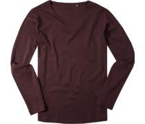 T-Shirt Longsleeve Shaped Fit Baumwolle bordeaux