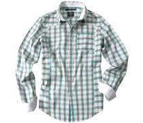 Herren Hemd Baumwollmix Karo türkis-beige-grau grün