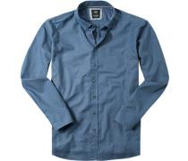 Herren Hemd Regular Fit Oxford blau gemustert