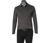 Herren Polo-Shirt Polo Baumwolle graphit-schwarz meliert grau