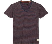 T-Shirt Baumwolle navy-rot gestreift