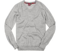 Herren V-Pullover Wolle mineral marl grau