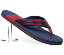 Schuhe Zehensandalen Textil nachtblau-rot gestreift