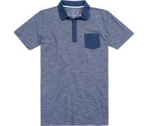 Polo-Shirt Modern Fit Baumwoll-Jersey marine-weiß gestreift