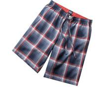 Schlafanzug Pyjamashorts Baumwolle blau-rot kariert