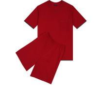 Schlafanzug Pyjama, Baumwolle, kirschrot