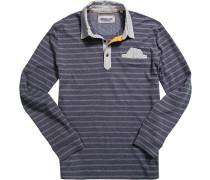 Polo-Shirt Polo Baumwoll-Jersey marine-grau gestreift