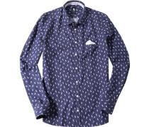 Herren Hemd Tailored Fit Popeline blau-weiß gemustert