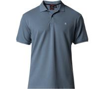 Polo-Shirt Polo Tailored Fit Baumwoll-Piqué taubenblau