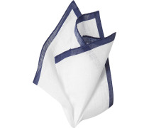 Herren Accessoires  Einstecktuch Leinen marine-weiß blau
