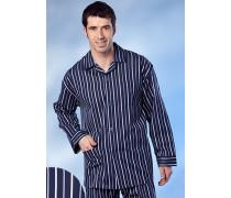 Herren Schlafanzug Pyjama Baumwolle marine-weiß gestreift blau