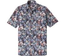 Herren Hemd Modern Fit Popeline navy-rot gemustert blau,rot