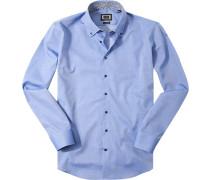 Herren Hemd Modern Fit Feintwill blau meliert