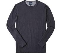Pullover Baumwolle-Kaschmir navy meliert