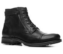 Herren Schuhe Schnür-Stiefel Kalbleder schwarz schwarz,blau