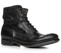Herren Schuhe Schnürstiefeletten Rindleder schwarz schwarz,rot