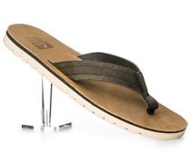 Schuhe Zehensandalen Leder dunkelgrün