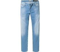 Jeans Regular Fit Baumwoll-Stretch hellblau