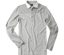 Herren Pullover Sweater Baumwolle grau-weiß gestreift