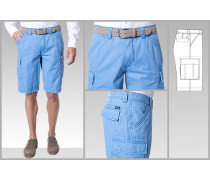 Herren Hose Bermudas Modern Fit Baumwoll-Stretch himmelblau