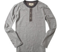 T-Shirt Longsleeve Baumwolle hellgrau meliert
