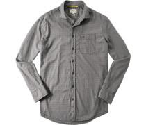 Herren Oberhemd Regular Fit Strukturgewebe grau gemustert