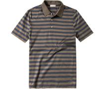 Polo-Shirt Polo, Baumwoll-Jersey, graublau-graubraun gestreift