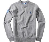 Pullover Sweater, Baumwoll-Mix, hellgrau meliert